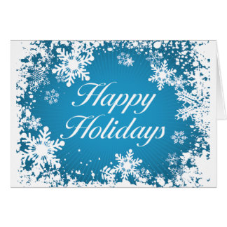 Happy Holidays Blue (snowflakes) Greeting Card
