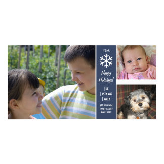 Happy Holidays - border for 3 photos Photo Cards