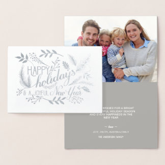 Happy Holidays Botanical Branches Word Art Silver Foil Card