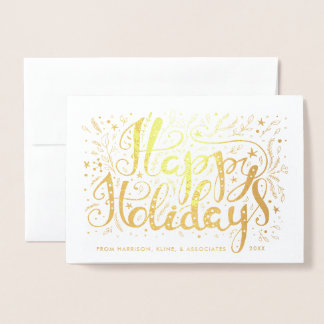 Happy Holidays Boughs and Stars Corporate Foil Card