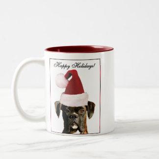 Happy Holidays boxer dog mug