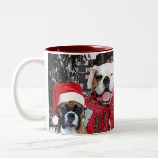 Happy Holidays Boxer Dogs mug