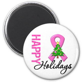 Happy Holidays Breast Cancer Awareness Refrigerator Magnets