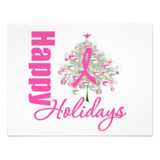 Happy Holidays Breast Cancer Pink Ribbon Personalized Invites
