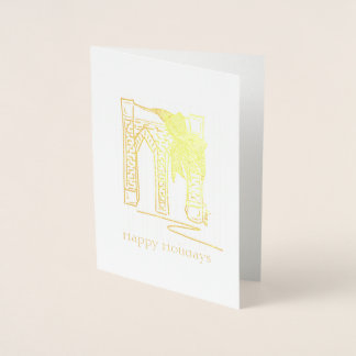 Happy Holidays Brooklyn Bridge Christmas Hanukkah Foil Card