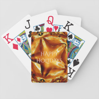 Happy Holidays Brown Gold Copper Christmas Star Bicycle Playing Cards