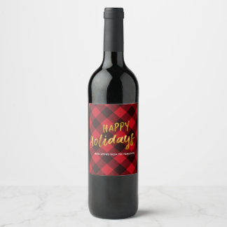 Happy Holidays Buffalo Plaid and Gold Christmas Wine Label