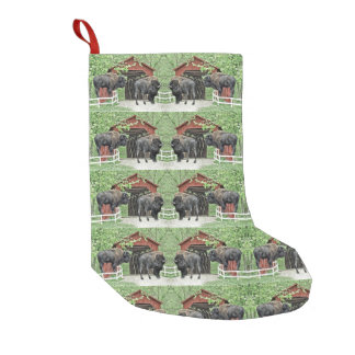 Happy Holidays Bull Bison At The Covered Bridge Small Christmas Stocking