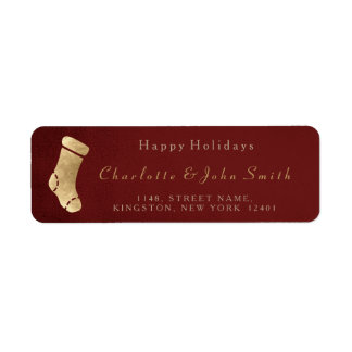 Happy Holidays Burgunde Golden Christmas Socks
