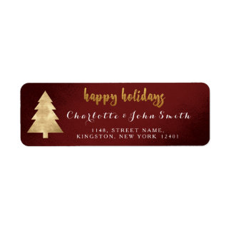 Happy Holidays Burgundy Golden Christmas Tree Return Address Label