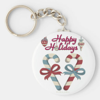 Happy Holidays Candy Cane Heart Basic Round Button Key Ring