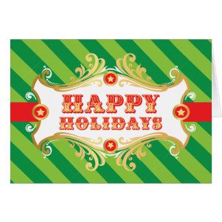 Happy Holidays Card, GREEN Christmas Carnival Card