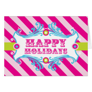 Happy Holidays Card, PINK CANDY Christmas Carnival Card
