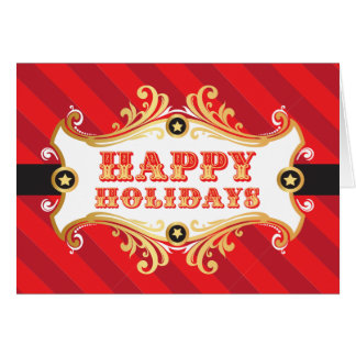 Happy Holidays Card, RED Christmas Carnival Card