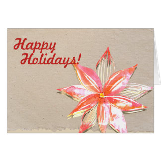Happy Holidays Card with Poinsettia Design