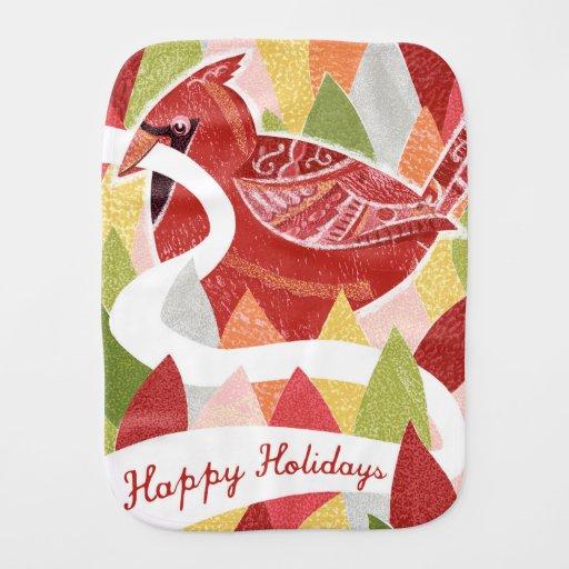 Happy Holidays Cardinal Bird on Christmas Leaves Baby Burp Cloths