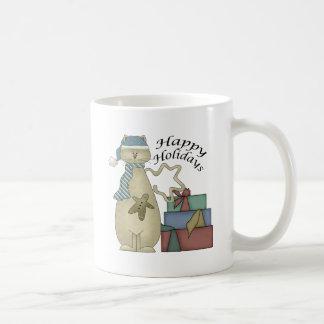 Happy Holidays Cat Coffee Mug