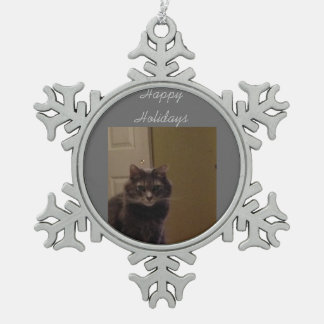 Happy Holidays Cat Pewter Snowflake Decoration