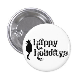 Happy Holidays Cat Silhouette 3 Cm Round Badge