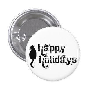 Happy Holidays Cat Silhouette 3 Cm Round Badge