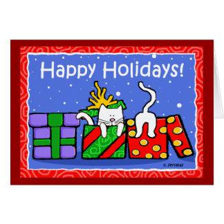 Happy Holidays Cats Greeting Card