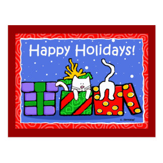 Happy Holidays Cats Postcard