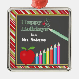 Happy Holidays Chalkboard Teacher Christmas Ornament