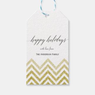 Happy Holidays chevron gift tags