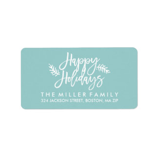 Happy Holidays Chic Hand Lettered Blue Address Address Label