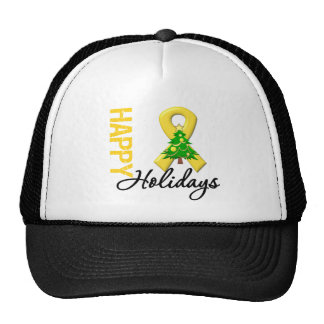 Happy Holidays Childhood Cancer Awareness Hat