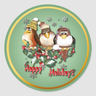 Happy Holidays Chirstmas Birds-Stickers Classic Round Sticker