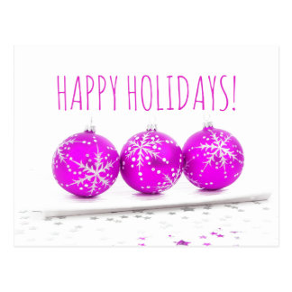 Happy Holidays Christmas Baubles Star Pink White Postcard