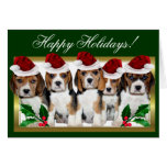Happy Holidays Christmas beagle puppies card