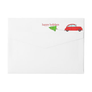 Happy Holidays Christmas car towing tree Wrap Around Label
