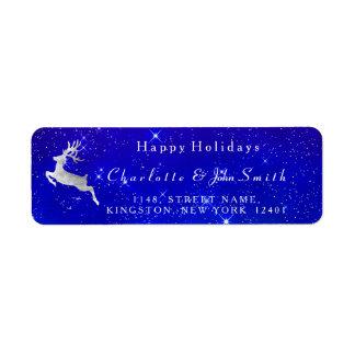 Happy Holidays Christmas Cobalt Sky Silver Deer