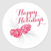 Happy Holidays Christmas cones drawing sticker