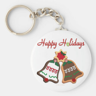 Happy Holidays Christmas Cookie Bells Basic Round Button Key Ring