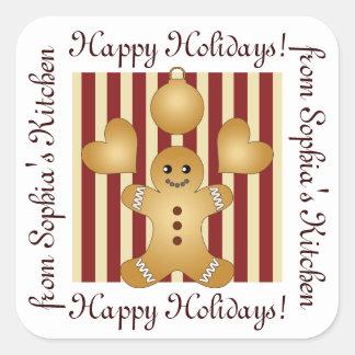 Happy Holidays - Christmas Cookie Cartoon Homemade Square Sticker