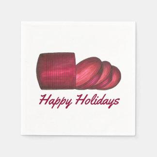 Happy Holidays Christmas Cranberry Sauce Napkins Paper Napkin