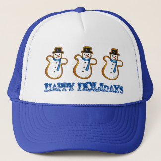 Happy Holidays Christmas Hanukkah Snowman Winter Trucker Hat