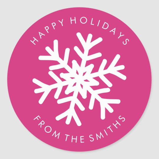 Happy Holidays - Christmas Hot Pink + White