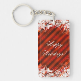 Happy Holidays Christmas Keychain Red