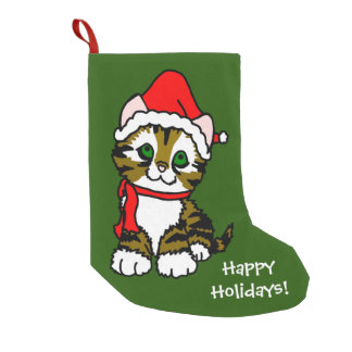 Happy Holidays Christmas Kitten Small Christmas Stocking