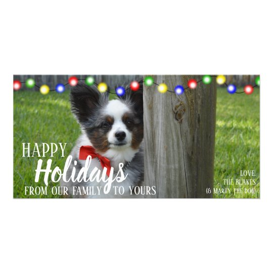 Happy Holidays Christmas Lights Pet Photo Card