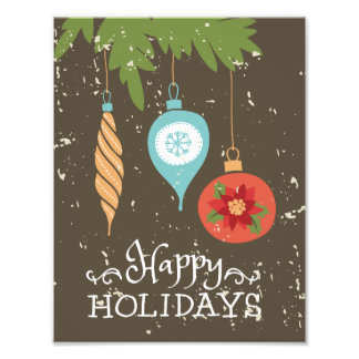 Happy Holidays Christmas Ornaments Decorative Art Photo