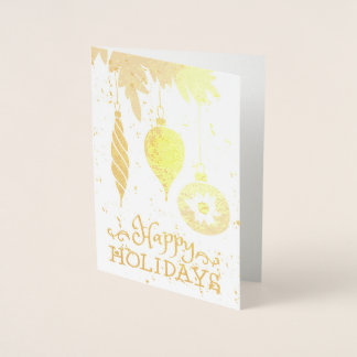 Happy Holidays Christmas Ornaments Decorative Foil Card