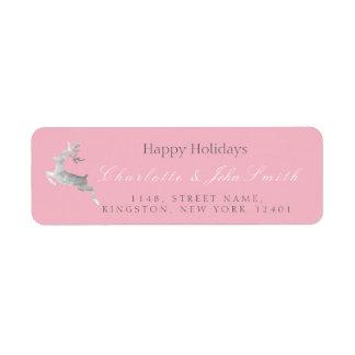 Happy Holidays Christmas Pink Rose Silver Deer1