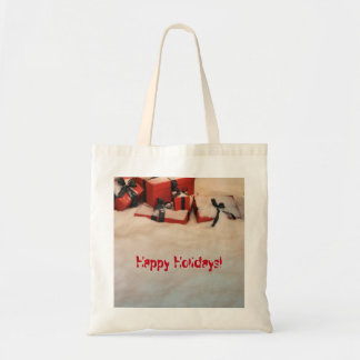 Happy Holidays Christmas Presents in snow Budget Tote Bag