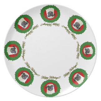 Happy Holidays Christmas Pug dog dinner plate