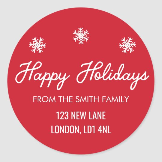 Happy Holidays - Christmas Red and White Label